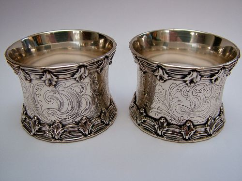 Tiffany special order napkin rings, a pair,