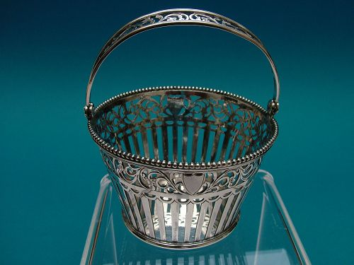 unbearably cute little Netherlands silver basket circa 1850,