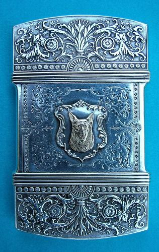 Whiting sterling card case with applied gold dogs