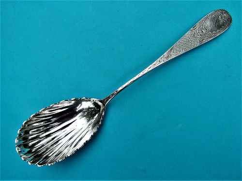 Maryland coin silver preserve spoon, P.B. Sadtler & Sons,