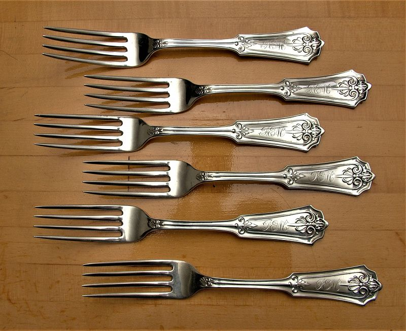 """6 John Cook coin silver """"Anthemion"""" dinner forks"""