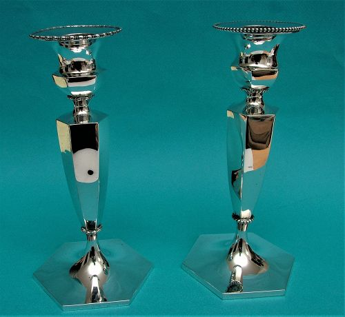 two Howard sterling candlesticks model 4535