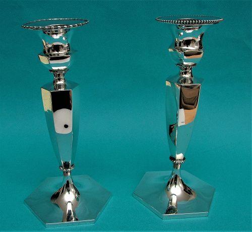 two Howard sterling candlesticks model 4535