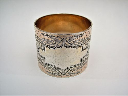 coin silver napkin ring, heavy and well engraved