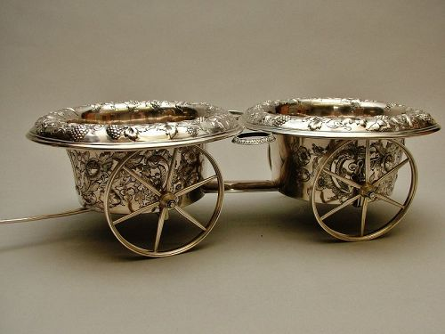 an American silver wine trolley, Francis W. Cooper, NY circa 1850