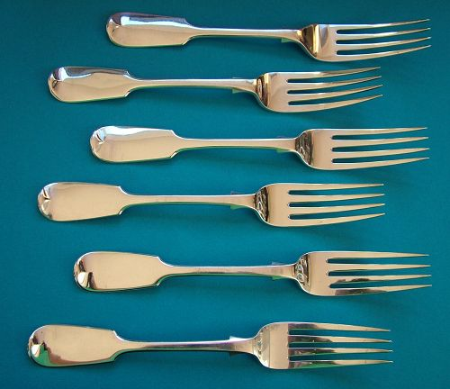 six massive Victorian sterling dinner forks, Jas. & Josiah Williams,