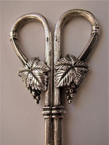 cast sterling figural grape shears