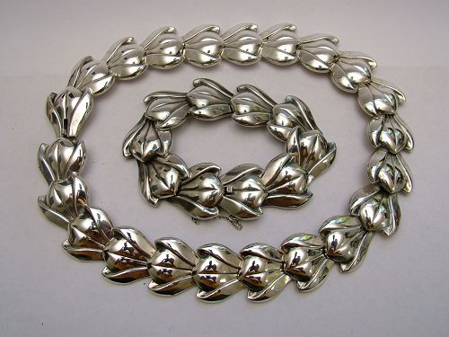 """Einar Dragsted sterling """"tulip"""" necklace and bracelet,"""