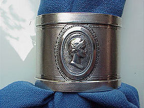 A pair of coin silver MEDALLION napkin rings
