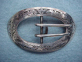 KERR acid etched Art Nouveau belt buckle