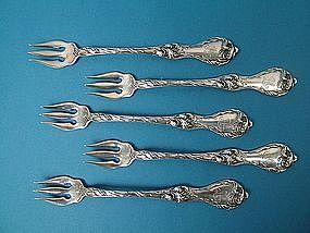 five Reed & Barton LES CINQ FLEURS oyster forks
