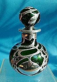 green Gorham silver overlay cologne bottle