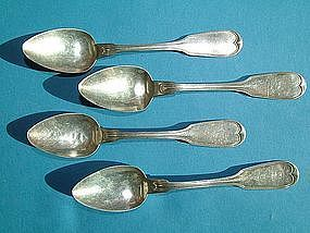 four FIDDLE THREAD teaspoons, Wood and Hughes for