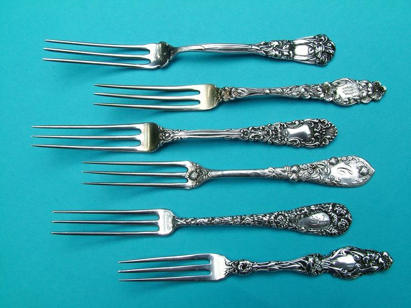 Durgin CHRYSANTHEMUM; Whiting LILY strawberry forks