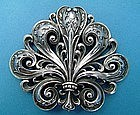 Gorham Art Nouveau belt buckle, Oak leaf motif