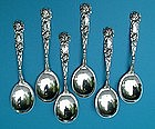 six Alvin BRIDAL ROSE gumbo soup spoons