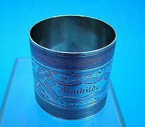 """engine turned & hand engraved napkin ring """"Mathilde"""""""