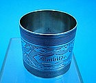 "engine turned & hand engraved napkin ring ""Mathilde"""