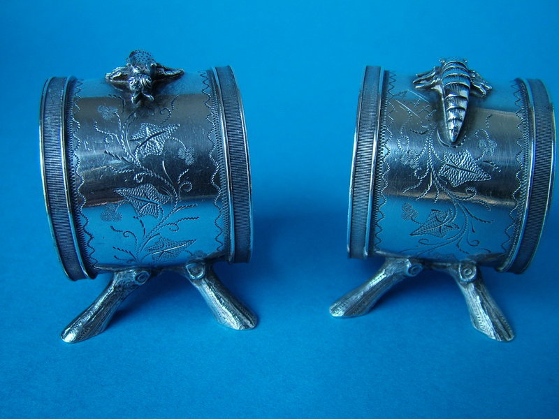 pair of Whiting figural sterling napkin rings
