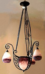 Art Deco Degue Iron and Glass Chandelier