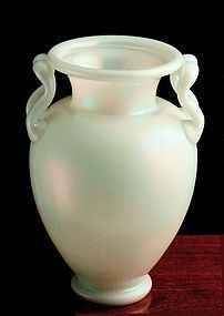 Steuben M-Handle Ivrene Glass Vase