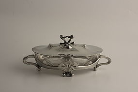 Osiris Art Nouveau Pewter Covered Bowl