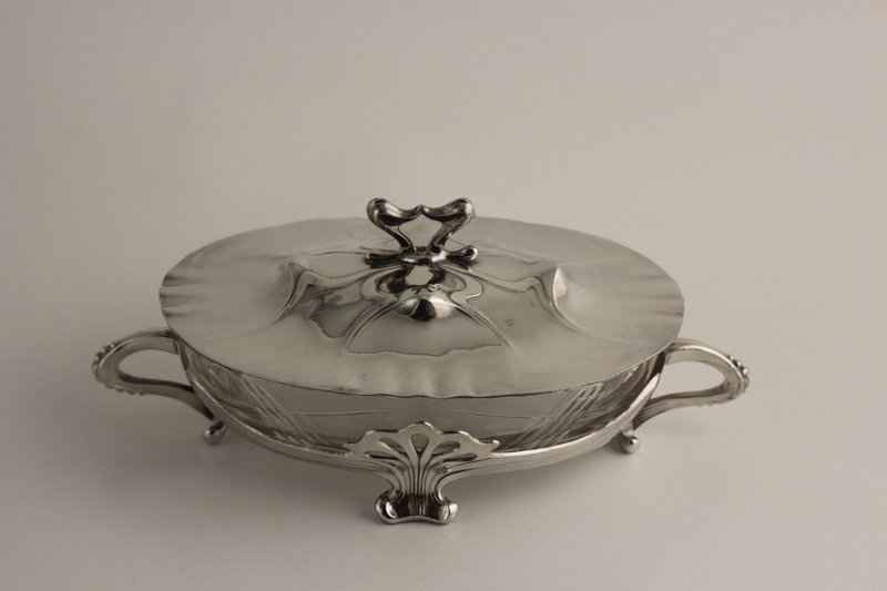 Osiris Art Nouveau Pewter Covered Bowl