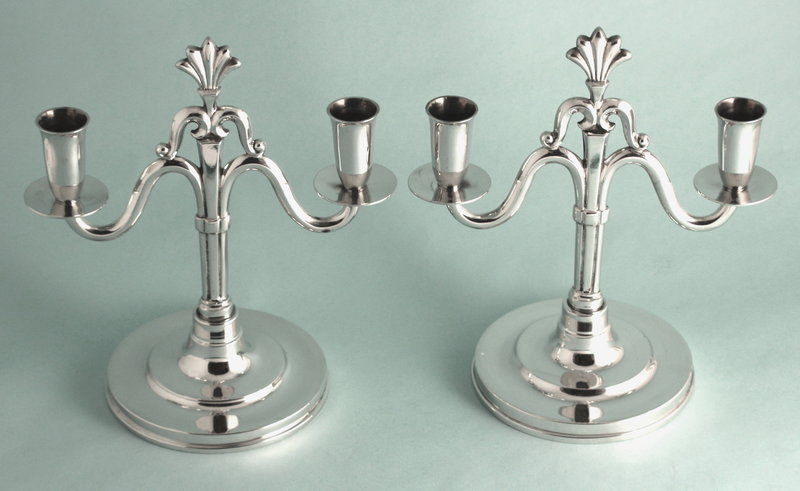 Pair Hallberg Art Deco Pewter Candle Holders