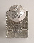 Art Nouveau Silver and Crystal Inkwell