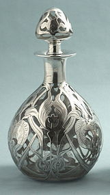 Large Silver Overlay Perfume Flacon