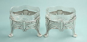 Koch & Bergfeld Art Nouveau Silver and Crystal Bowls