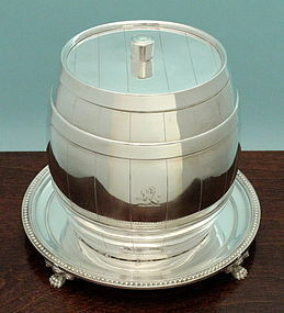 Victorian Barrel Form Biscuit Barrel