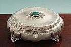 Fine Silver and Malacite Italian Box