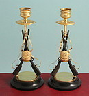 Antique Bronze Rifles Candlesticks