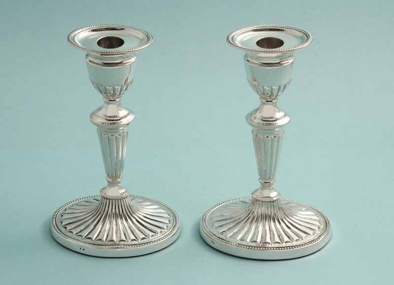 Antique Silver Adams Style Candlesticks