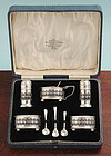 Boxed English Silver Condiment Set