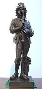 Duchoiselle Bronze Bronze Boy With Flute or Chalumeau