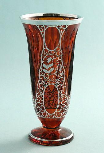 Cut Crystal Silver Overlay Vase