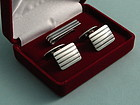 Danish Modernist Silver Cufflinks and Tie Clip