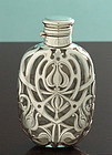 Art Nouveau Silver Overlay Whisky Flask