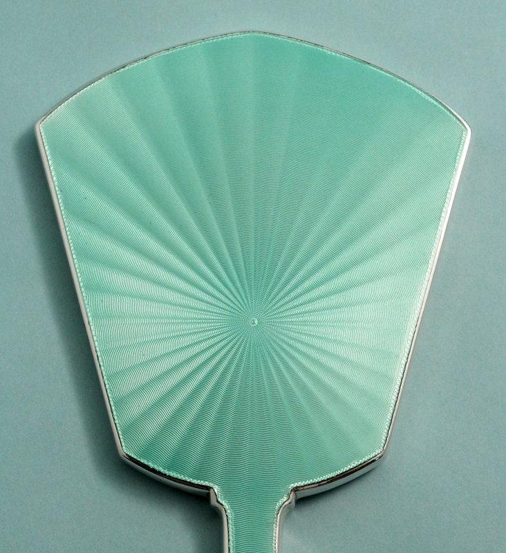 Art Deco Silver and Enamel Mirror