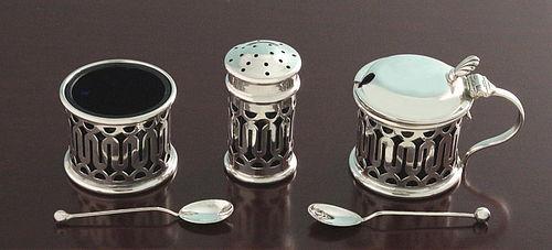 English Silver Condiment Set