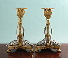 Antique Bronze Swans Candlesticks