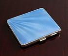 English Art Deco Enamel and Silver Cigarette Case