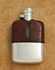 Silver and Leather Whisky Flask