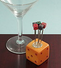 Bakelite Dice Holder with Cocktail Picks