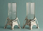 Koch & Bergfeld Art Nouveau Silver and Crystal Vases