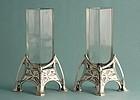 Koch & Bergfeld Art Nouveau Silver and Crystal Vases