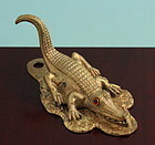 Victorian Bronze Alligator Paper Holder Clip