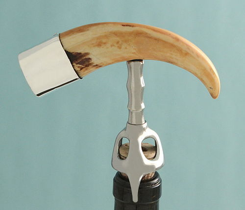 Antique Boar Tusk and Silver Corkscrew